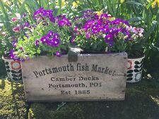 Genuine Legno Cornish FISH CRATE Portsmouth inchiostri-Bottiglia di vino / Plant POT HOLDER