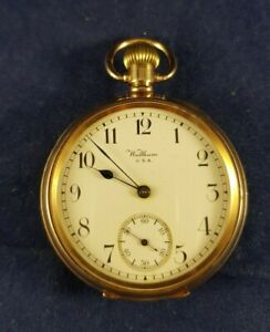 """Waltham Rolled Gold """"Moon"""" Cased Pocket Watch with """"Marquis"""" Movement c1917"""