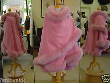 Fur Cape Pink Cashmere With Fox Trim Beautifully Canadian Label