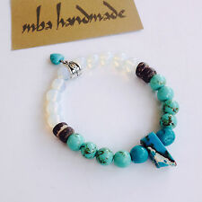 WOMEN'S NATURAL STONE VARISCITE & TURQUOISE & OPAL & COCO BEADS HEART BRACELET