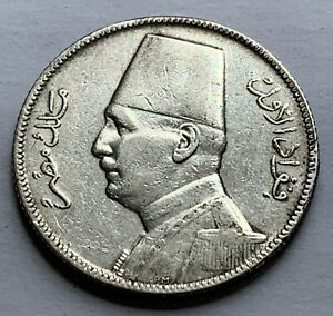 EGYPT KING FUAD I SILVER 5 PIASTRES 1929 - LOW MINTAGE