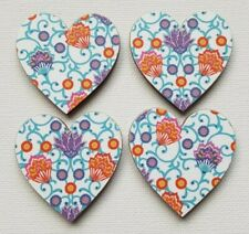 Handmade Set of 4 Wooden Heart Fridge Magnets Gorgeous Moroccan Inspired Print