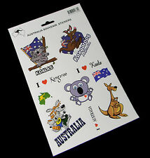 Australia Souvenir 1 Sheet 10 Vinyl Stickers Decal Assorted Sizes Kangaroo Koala
