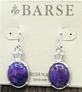 Barse Fitzhugh Oval Earrings- Purple Turquoise- Silver Overlay- New with Tags