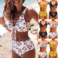 Brazilian Womens High Waisted Bikini Set Padded Swimwear Floral Swimsuit Bathing