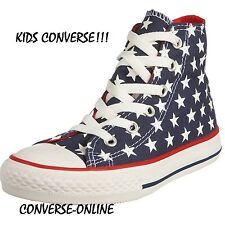 Kids Boys Girl CONVERSE All Star REPEAT STARS HI Blue White Trainers Boots UK 13