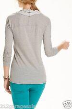 Anthropologie NEW Divoted Cowlneck Top Shirt Blouse Light Grey t.la U S A Sz L