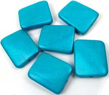 35x30mm  Wavy Rectangle Wood Pendant Focal Beads (6) - Turquoise Blue