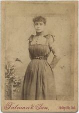 YOUNG LADY IN BEAUTIFUL DRESS BY FATMAN + SON, SHELBYVILLE, IND., CABINET CARD