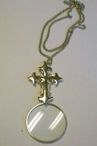 Silver CROSS MAGNIFYING GLASS magnifier pendant NECKLACE