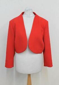 HOBBS Ladies Kaley Red 3/4 Sleeved Open Front Cropped Bolero Jacket UK14 NEW