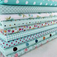 New 9Pcs Bundles Fabric Cotton Florals Gingham DIY Craft Quilt Sewing New