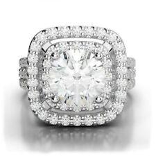 Wedding Halo Ring 14K White Gold 3.99 Ct Round Near White Moissanite Engagement