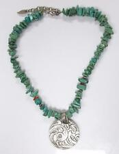 Coldwater Creek Turquoise Beads And Silver Tone Pendant Necklace ~ 13-F4583