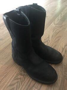 Rocky Wellington Duty Work Boots Black Men's 10.5
