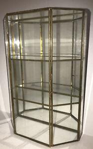 Vintage Mirrored Glass Brass Curio Cabinet Display Case Trinket Miniatures