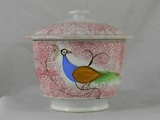 Red Spatterware Covered Sugar Bowl Peafowl Decoration Staffordshire 1825
