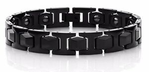 Men's New Link Bracelet - Black Plated Tungsten Carbide with Therapeutic Magnets