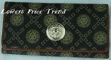 Fashion Faux Leather Trifold Wallet Lion Print Clutch Long Card Purse BROWN