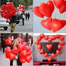 """10"""" LATEX Red & White HEART SHAPE AIR/HELIUM LOVE BALLOONS Mix colour baloons"""