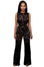 Black Lace Nude Illusion Jumpsuit Playsuit Romper Party Club Wear Size UK 12