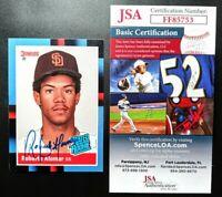 1988 Donruss Robero Alomar JSA Signed Autograph Padres Rated Rookie Card HOF