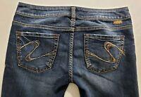 Silver Jeans Toni Womens Blue Denim Size 30 x 31 Boot Cut Dark Wash Mid Rise