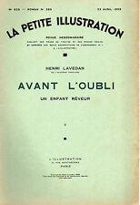 LA PETITE ILLUSTRATION N° 623 -AVANT L'OUBLI ENFANT REVEUR T2,par LAVEDAN - 1933