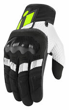 ICON OVERLORD Textile/Leather Touchscreen Riding Gloves (Black/White/Hi-Viz)