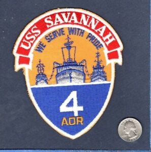 Original AOR 4 USS SAVANNAH US NAVY OILER SHIP Squadron Jacket Patch