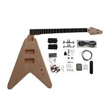 Coban Vuelo V-Bass Bricolaje Guitarra Kit Caoba Cuerpo,Juego En Cuello,Cromo