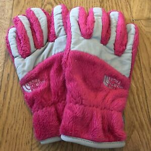 The North Face Kids Size Large Pink & Gray Fuzzy Fleece Winter Glove