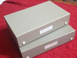 2 x Vintage Boots 35mm Slides Storage Box Case - 60's - GREY