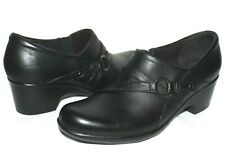 ❤️ CLARKS Genette Arc Black Leather Soft Cushion Booties 8.5 M EXCELLENT L@@K!24