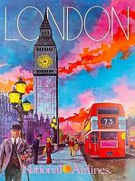 London England National Airlines Britain Vintage Travel Advertisement Poster