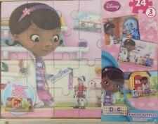 Disney Doc McStuffins 3 NEW Puzzles in Wood Storage Case Disney Junior