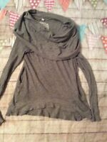 Anthropologie Cowl Neck Light Weight Shirt Grey Size 6 Or Small Pockets