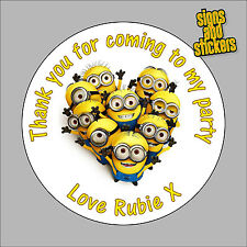 40 Personalised Childrens Party Stickers Minions Despicable Me 2 gift bags
