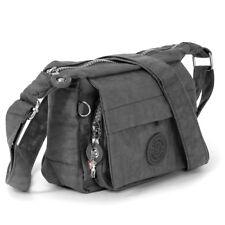 4ea5f69e3fdf4 Umhängetasche grau Damen Mädchen Schultertasche Nylon Handtasche OTJ232K