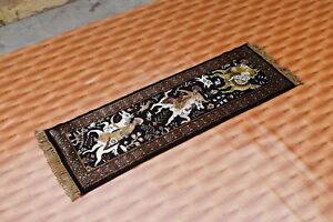 Black Pictorial Carpet Hand Knotted Rug 1.6'x4' Turkis Silk Oriental Hunting Rug