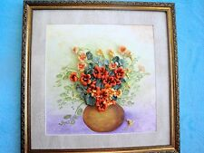 "Silk ribbon embroidery ""Nasturtium in vase"""