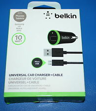 BELKIN 10W UNIVERSAL CAR CHARGER +  MICRO USB CABLE FOR SMARTPHONE & TABLETS