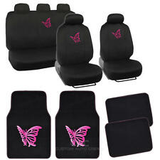 Pink Butterfly Design Car Seat Covers & Floor Mats - Full Interior Set - 13 Pc