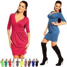 Zeta Ville - Women's Empire Waist Pleated Tulip Dress Pockets Size 8-18 - 236z