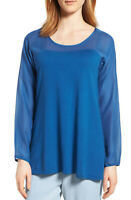 Eileen Fisher Women's Scoop Neck Silk & Cotton Tunic Long Sleeve Top Blue Size M