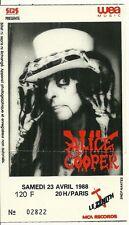 RARE / TICKET BILLET DE CONCERT - ALICE COOPER : LIVE A PARIS ( FRANCE ) 1988