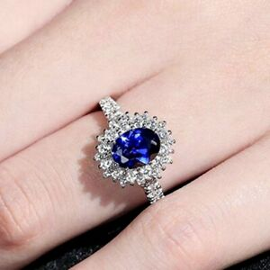 Women Classic Blue Sapphire Gemstone Oval Cut White Gold Filled Sunflower Ring