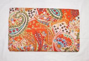 Ethnic Paisley Print Queen Indian Cotton Applique Kantha Quilt Blanket Bedspread