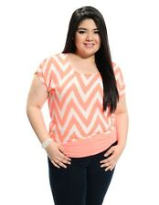 Women Plus Size Neon Coral Chevron Sheer Blouse w/Cut out Sleeves. Size 1X & 3X.