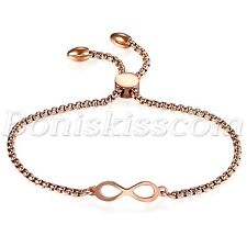 Womens Stainless Steel Charm Love Infinity Bracelet Chain Gift Freely Adjustable